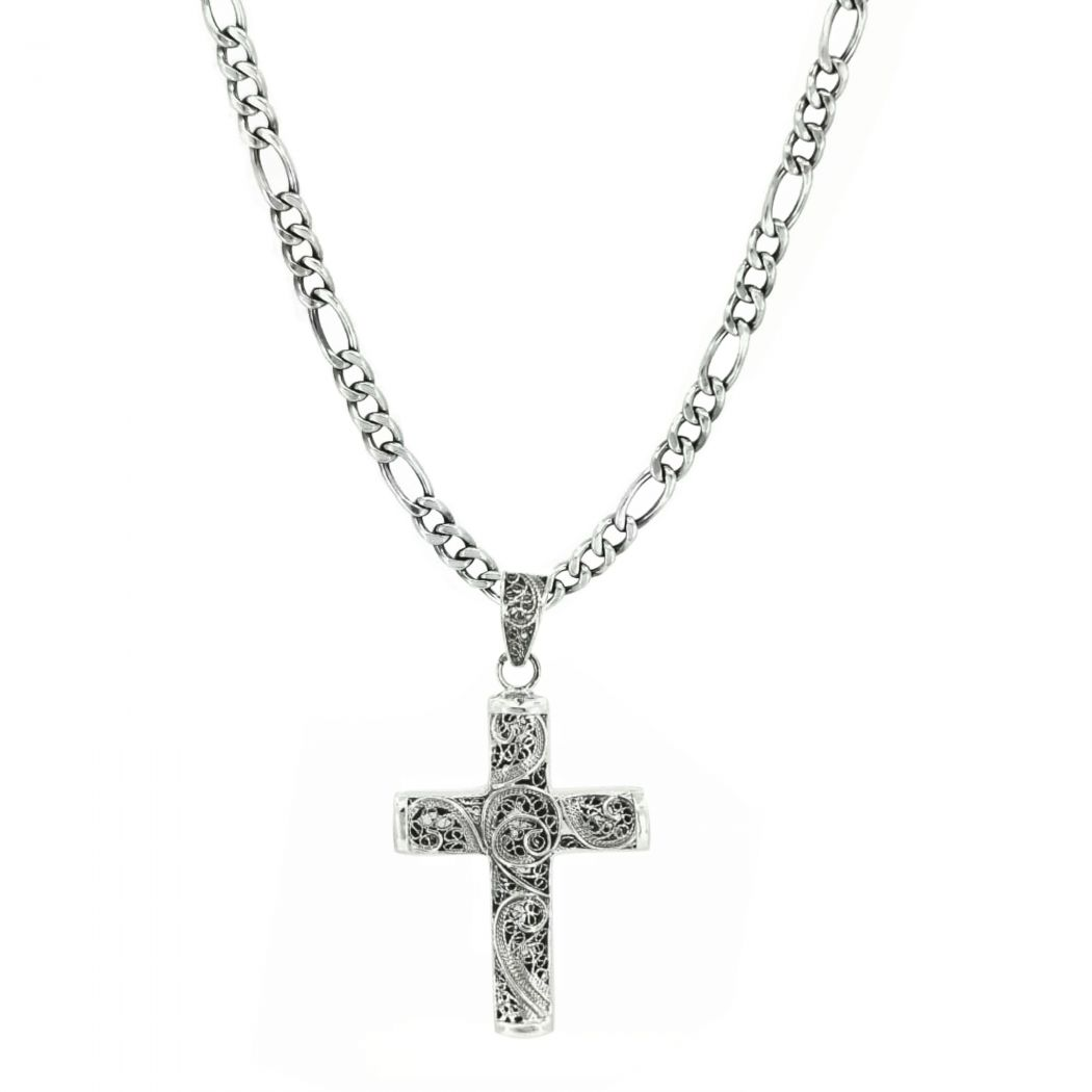 Necklace 3+1 with Filigree Cross in Silver