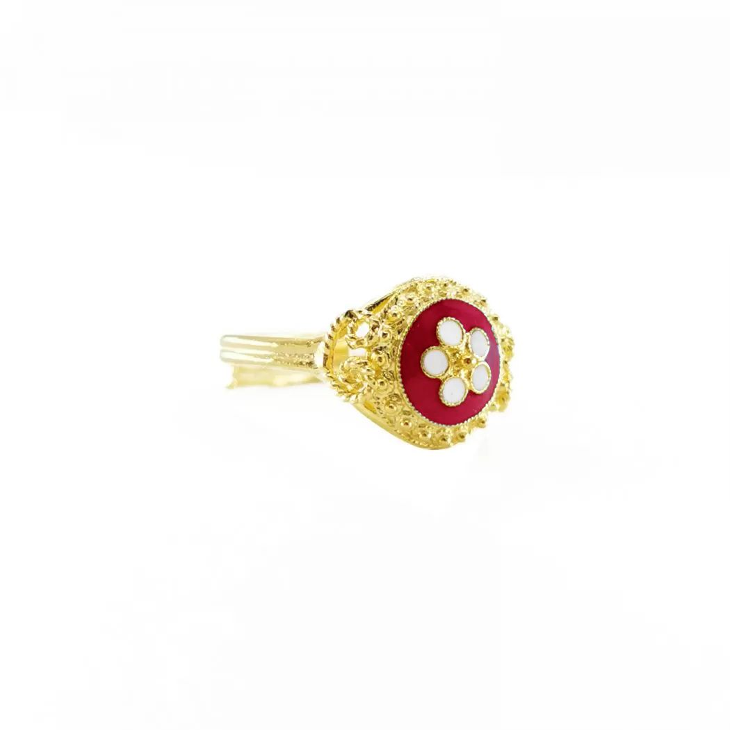 Ring Red Caramujo in Gold Plated Silver