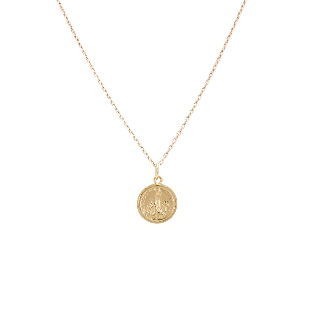 Necklace Our Lady of Fátima and little Shepherds in 19,2Kt Gold