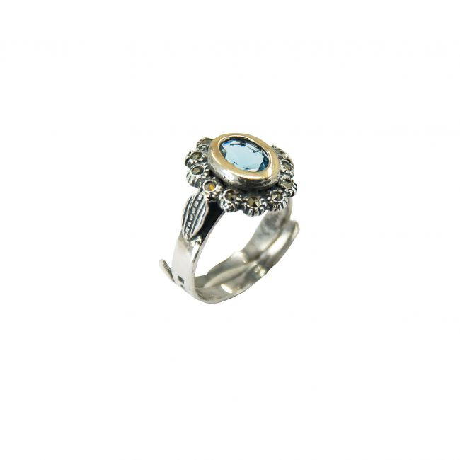 Ring Aquamarine Marcasites in Silver and Gold