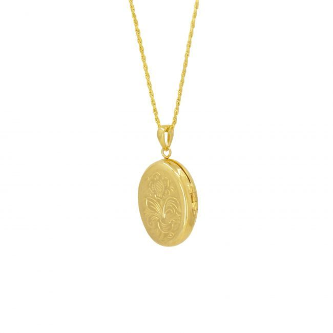 Colar Memória Oval em Prata Dourada