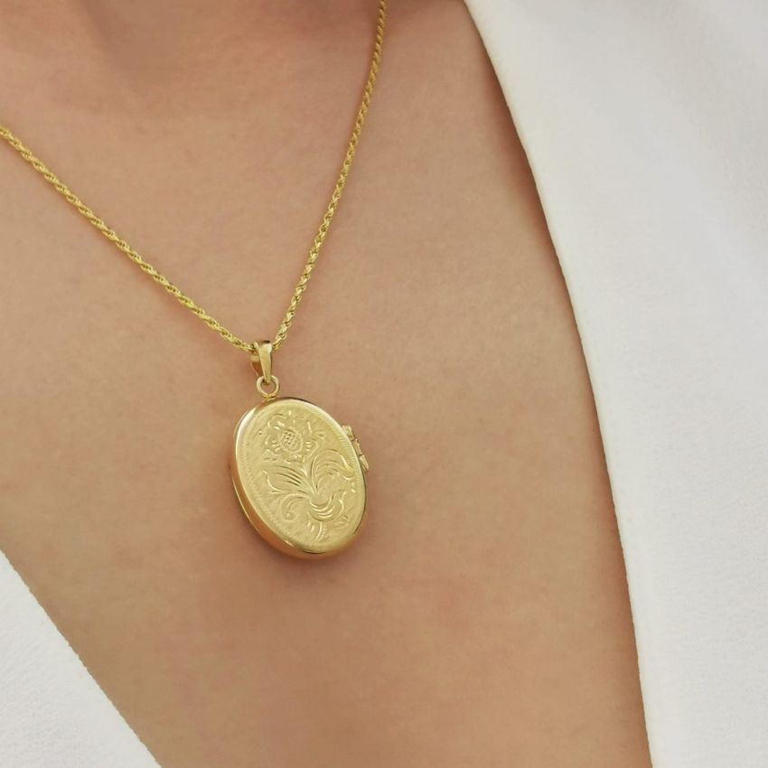 Necklace Memoria Oval in Gold Plated Silver