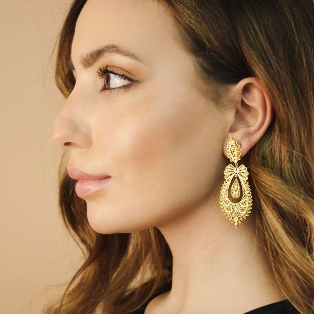 Princess Earrings Icon in Gold Plated Silver