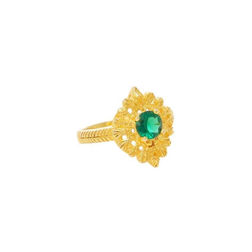 Ring Queen Emerald in Gold Plated Silver