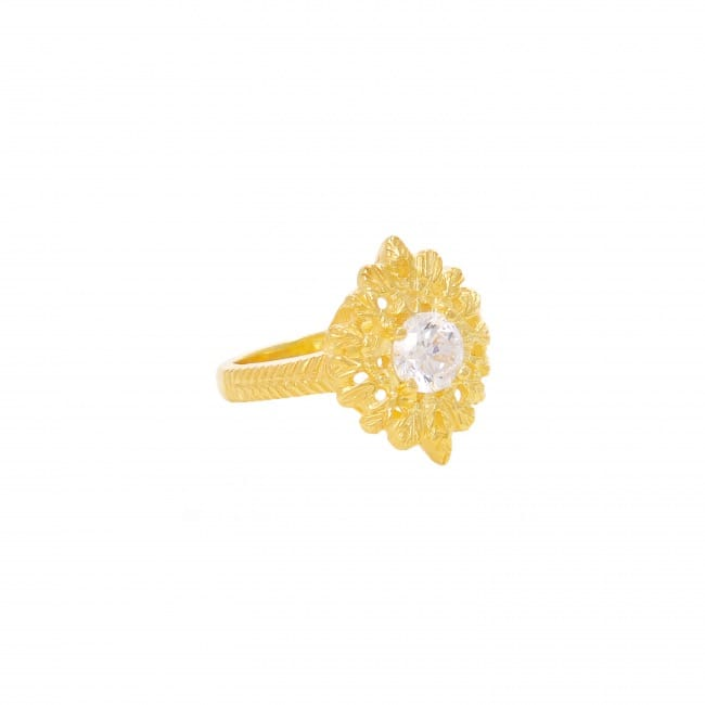 Ring Queen Zirconia in Gold Plated Silver