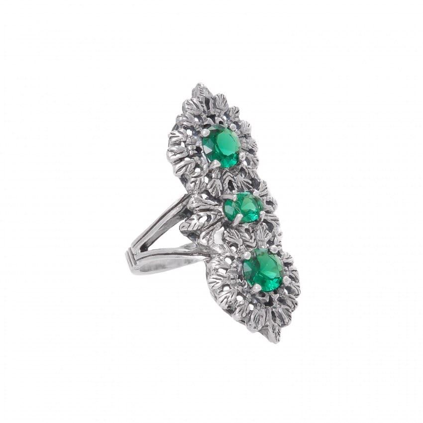 Ring Queen Emerald Triple in Silver