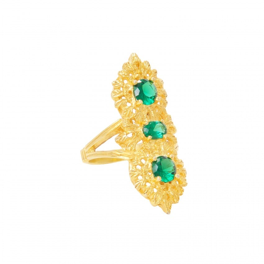 Ring Queen Emerald Triple in Gold Plated Silver