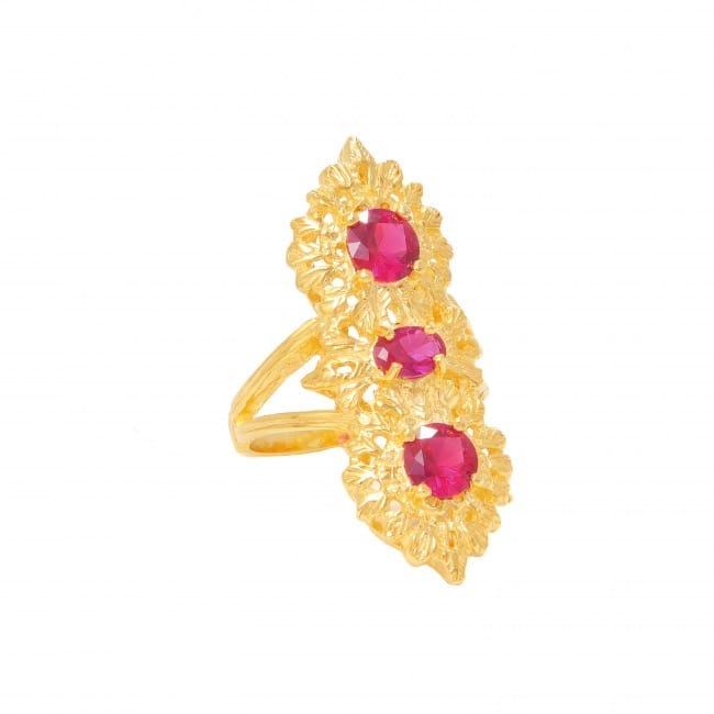 Ring Queen Ruby Triple in Gold Plated Silver