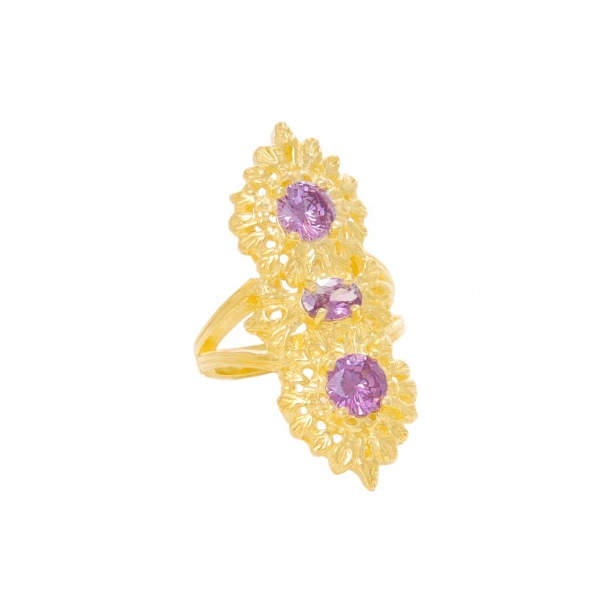 Ring Queen Amethyst Triple in Gold Plated Silver