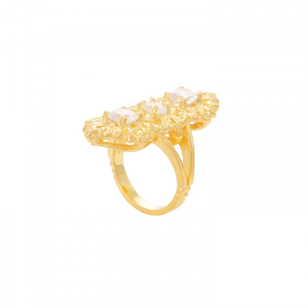 Ring Queen Zirconia Triple in Gold Plated Silver