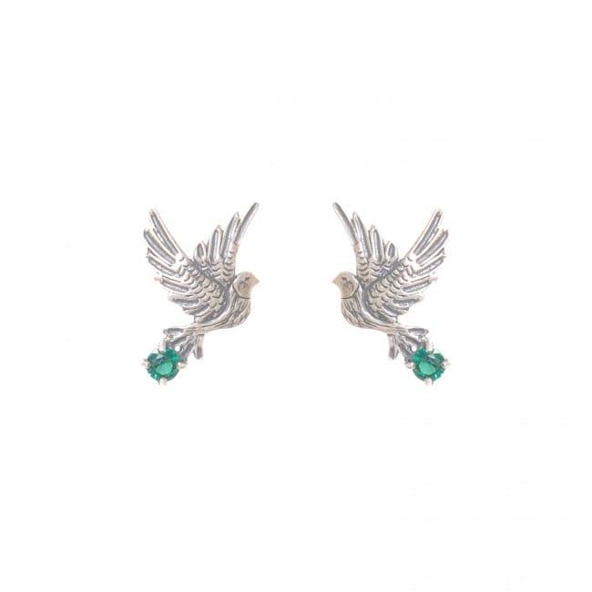 Earrings Dove Emerald in Silver