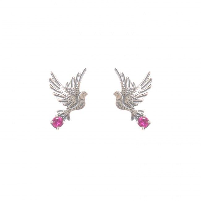 Earrings Dove Ruby in Silver