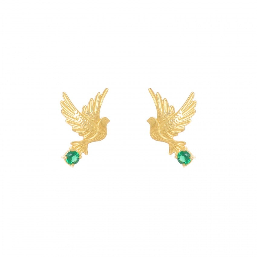 Earrings Dove Emerald in Gold Plated Silver