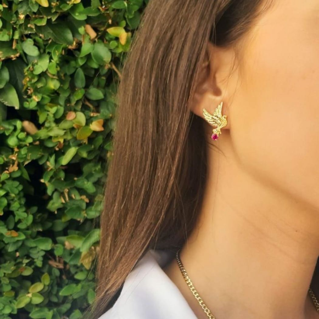 Earrings Dove Ruby in Gold Plated Silver