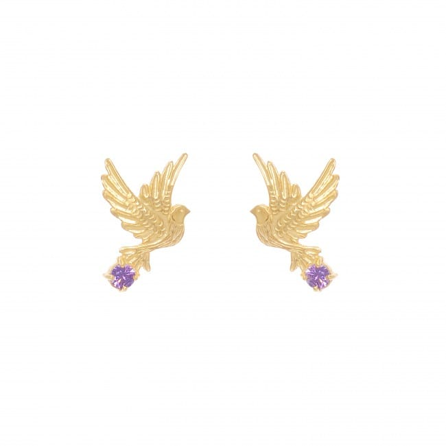 Earrings Dove Amethyst in Gold Plated Silver