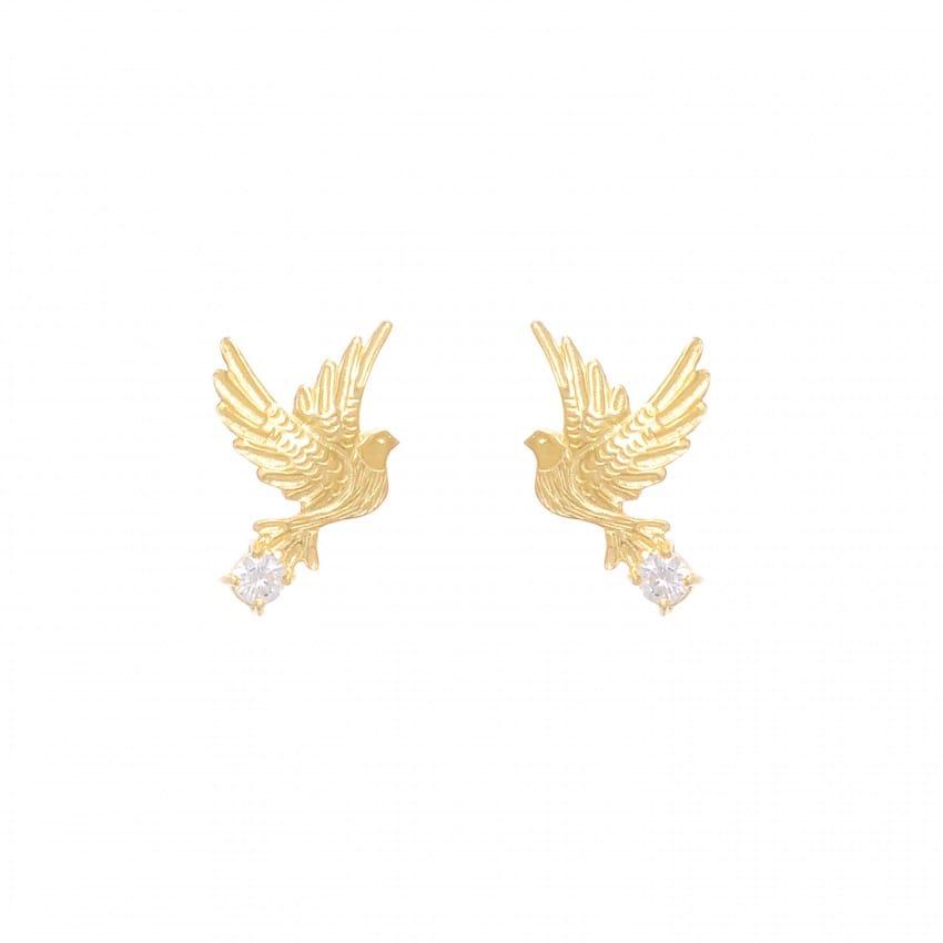 Brincos Pomba Zircónia em Prata Dourada
