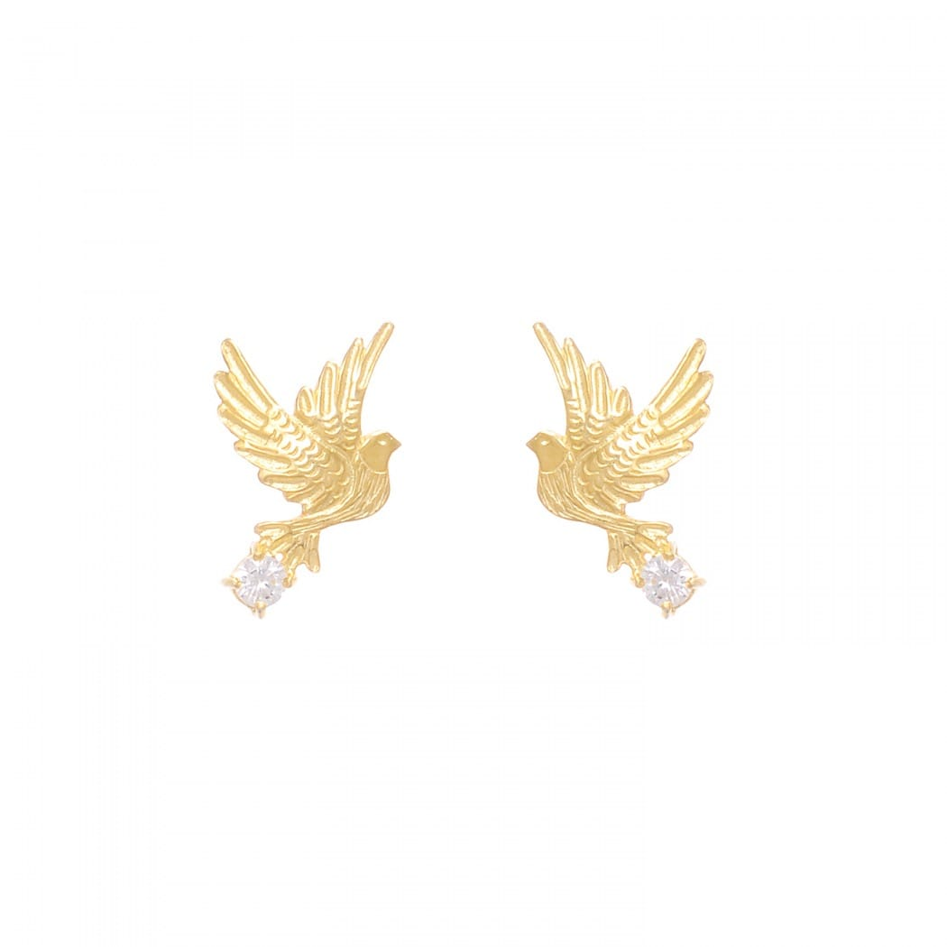Earrings Dove Zirconia in Gold Plated Silver