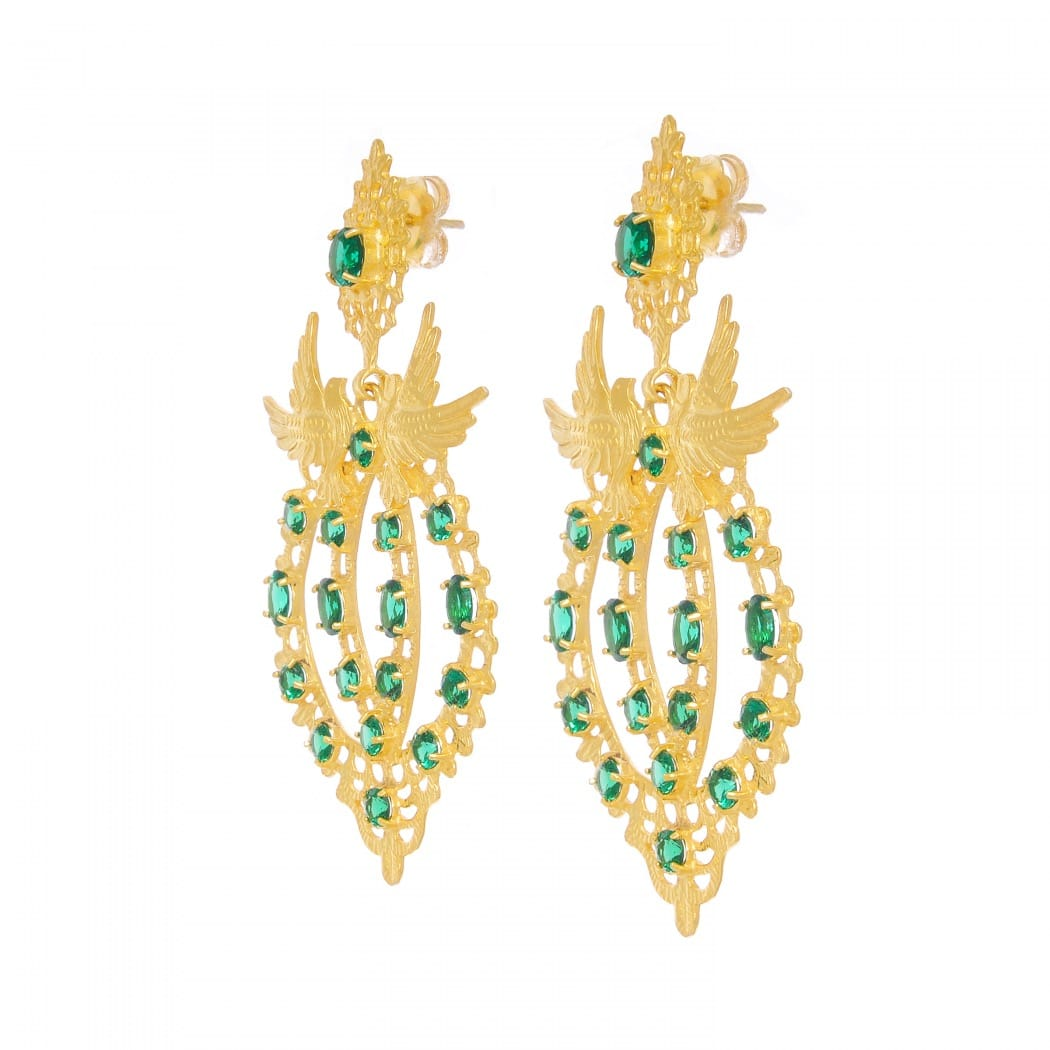 Earrings Queen Dove Emerald in Gold Plated Silver