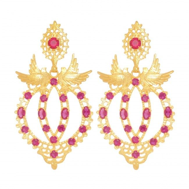 Earrings Queen Dove Ruby in Gold Plated Silver