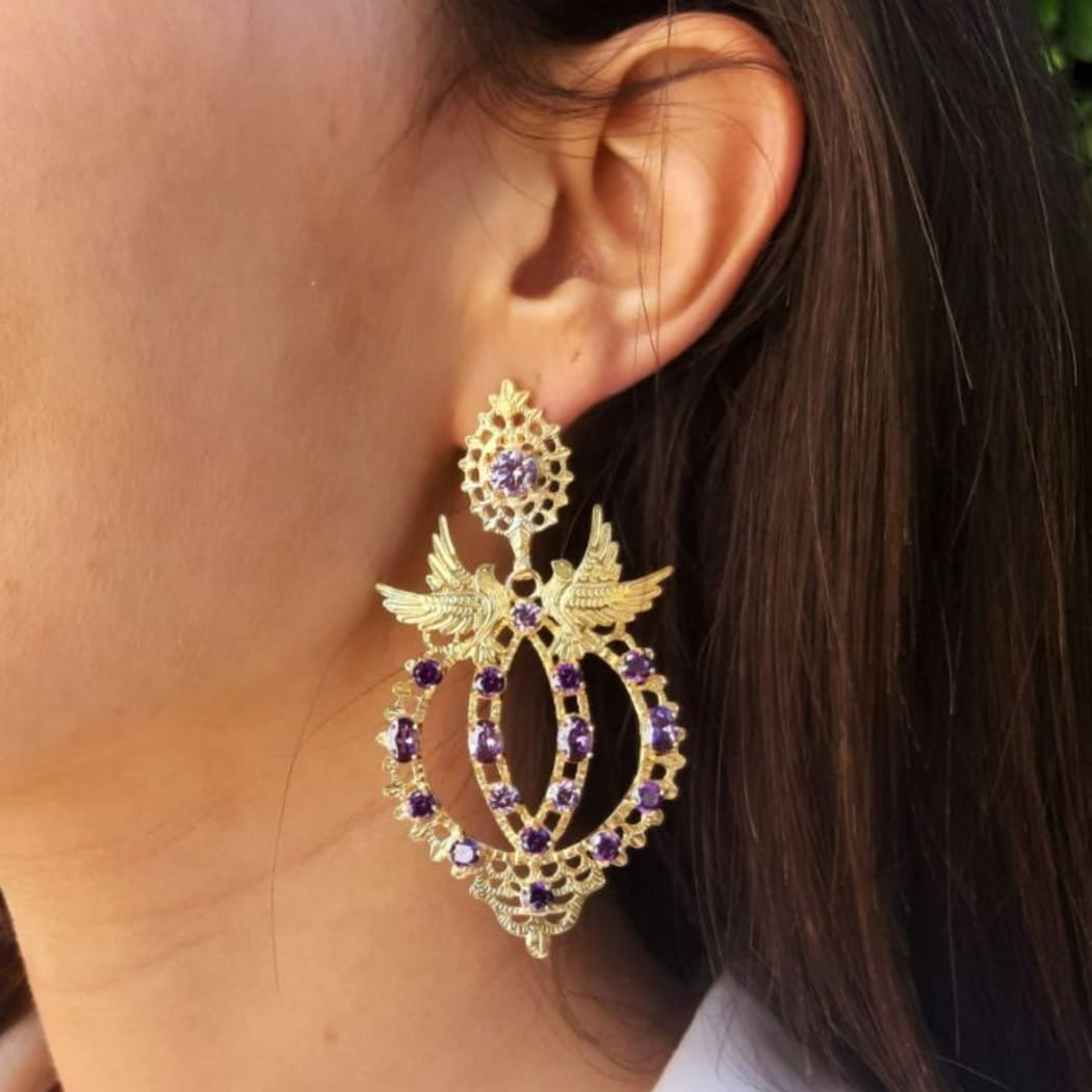 Earrings Queen Dove Amethyst in Gold Plated Silver