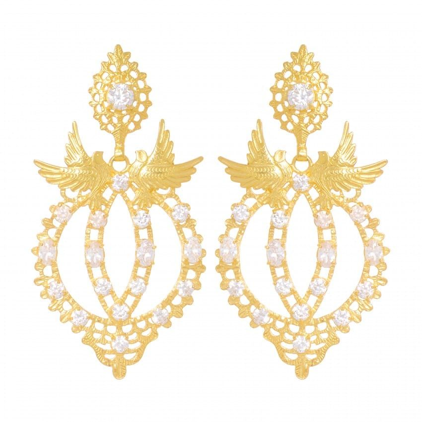 Brincos Rainha Pomba Zircónia em Prata Dourada