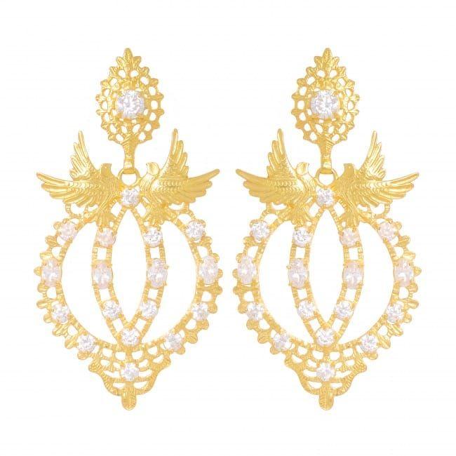 Earrings Queen Dove Zirconia in Gold Plated Silver