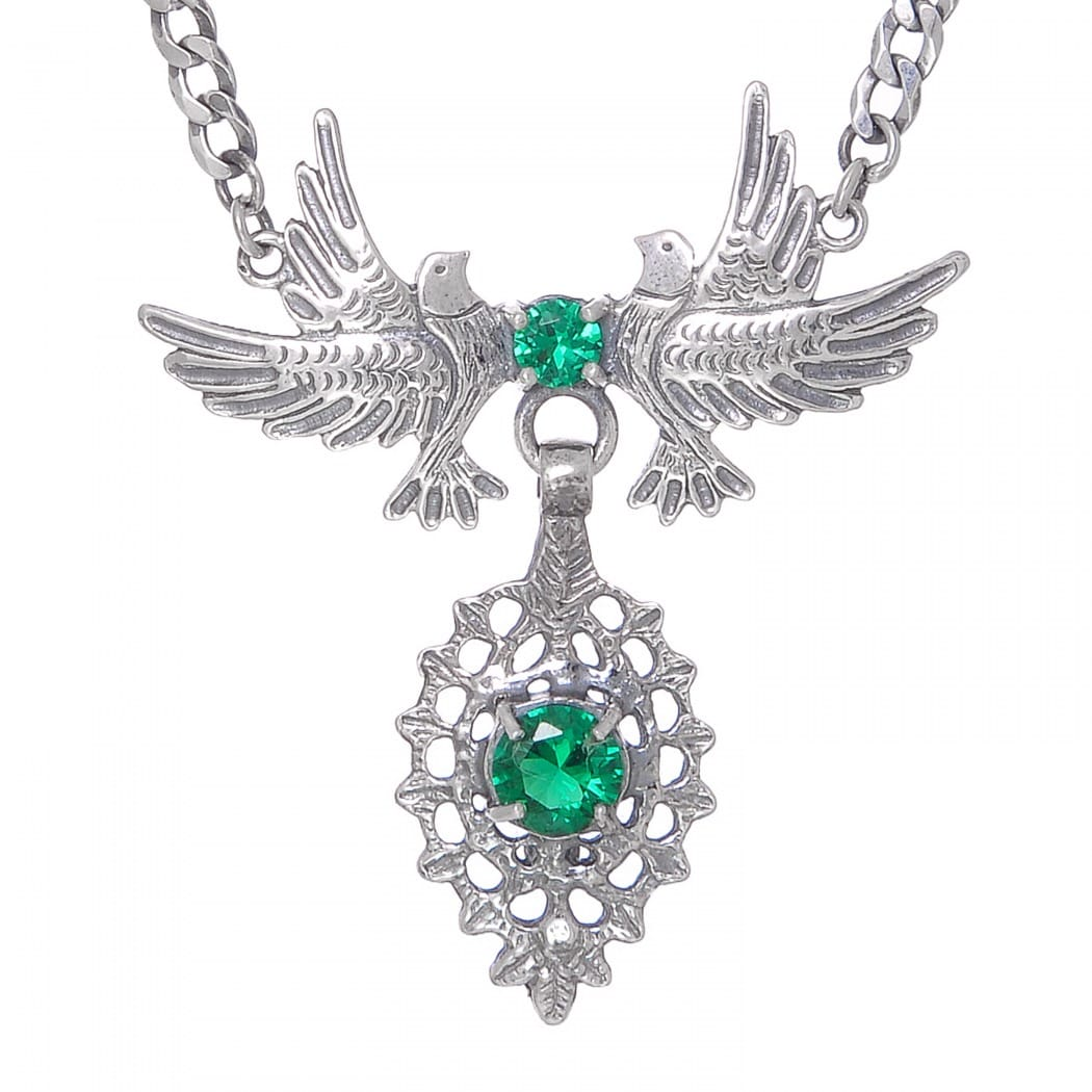 Colar Rainha Pomba Esmeralda em Prata