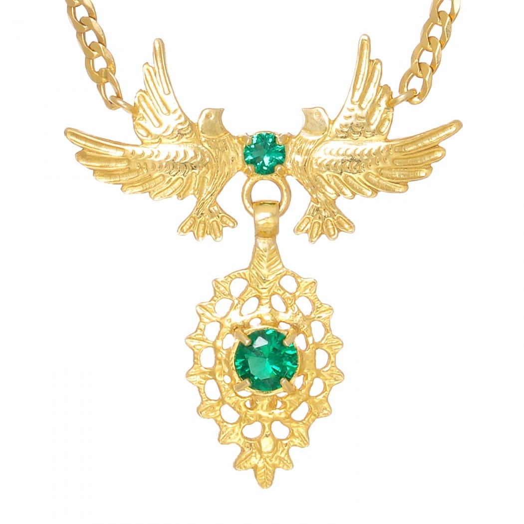 Necklace Queen Dove Emerald in Golden Plated Silver