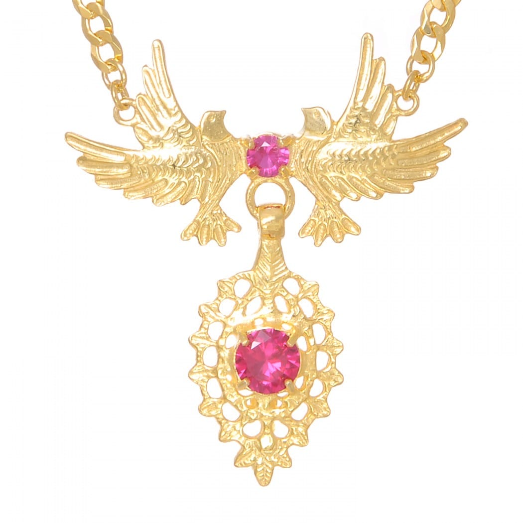 Necklace Queen Dove Ruby in Golden Plated Silver