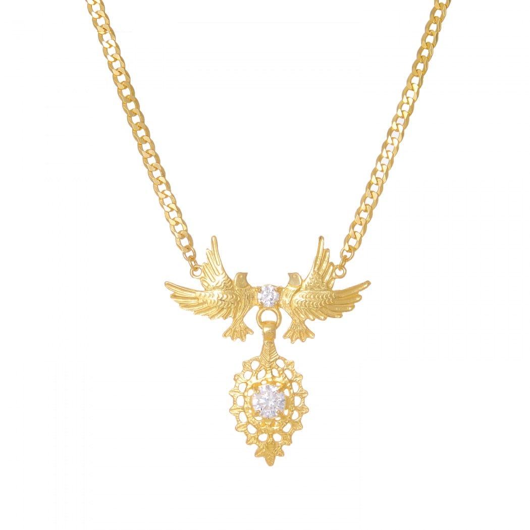 Necklace Queen Dove Zirconia in Golden Plated Silver