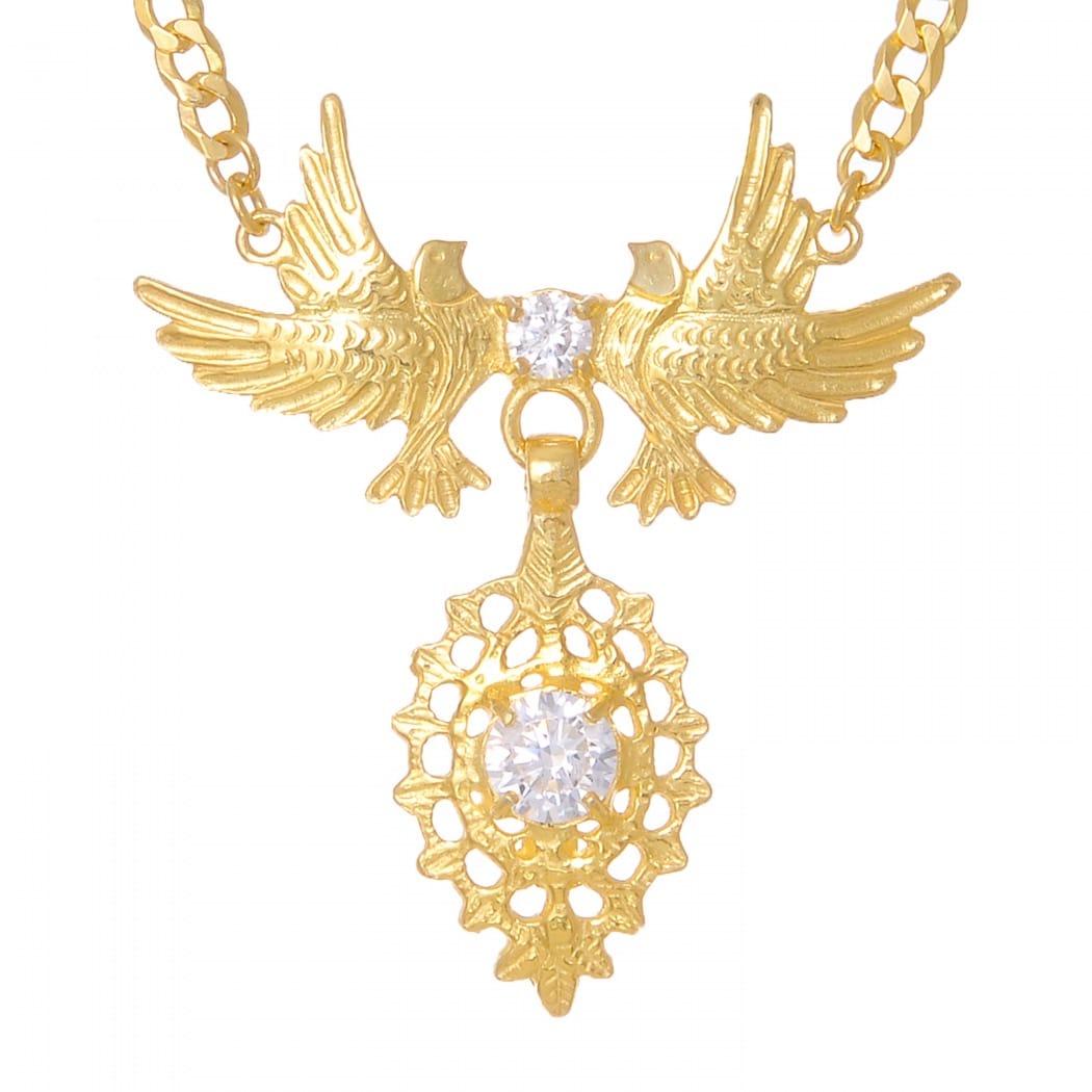 Colar Rainha Pomba Zircónia em Prata Dourada