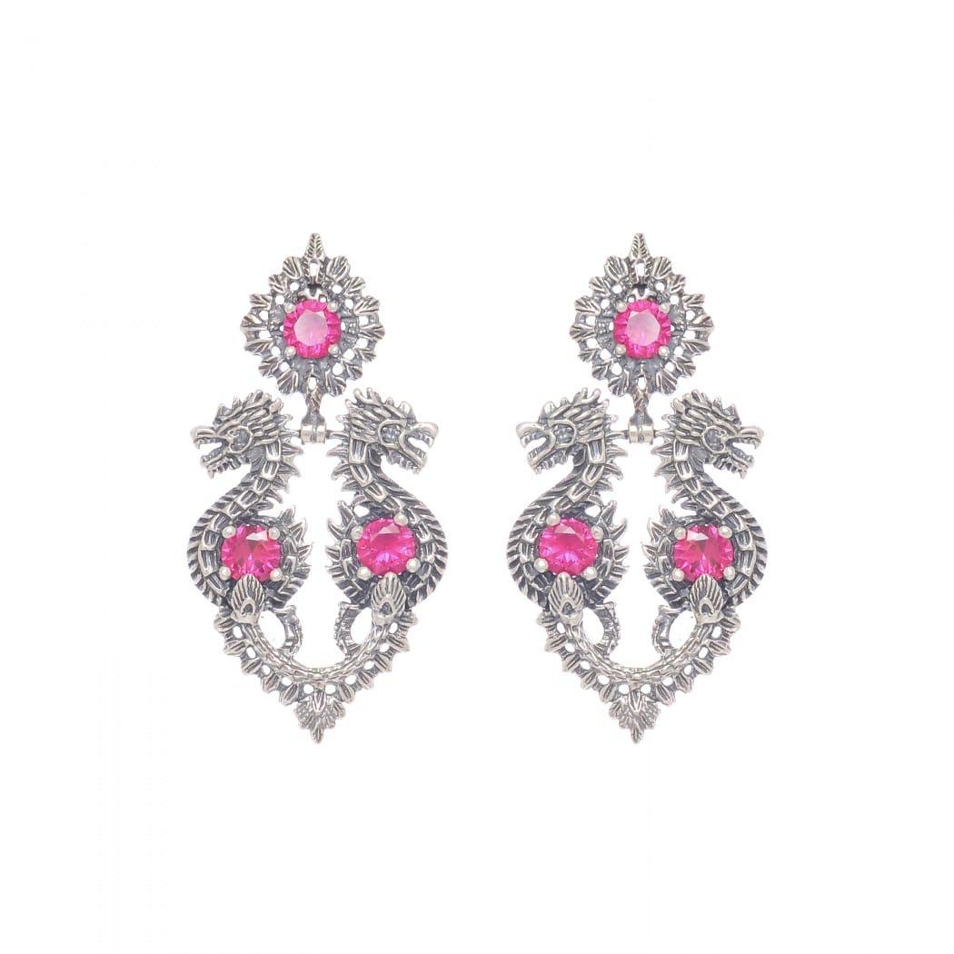 Earrings Queen Dragon Ruby in Silver