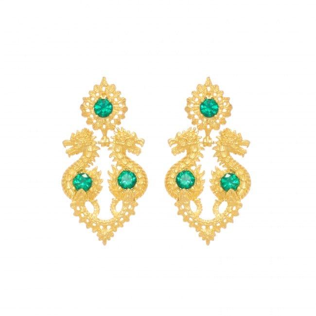 Brincos Rainha Dragão Esmeralda em Prata Dourada
