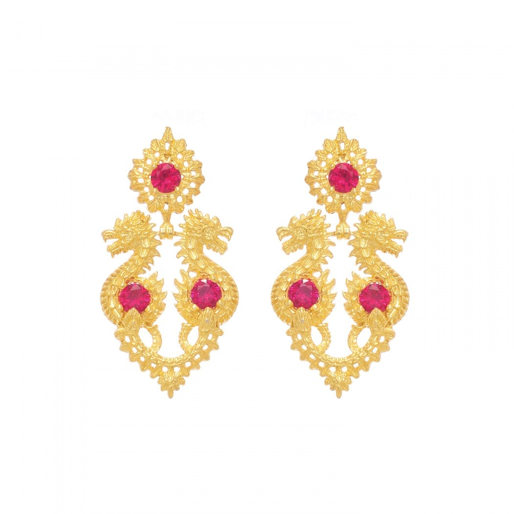 Earrings Queen Dragon Ruby in Gold Plated Silver