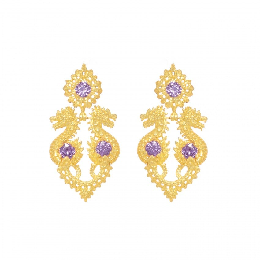 Earrings Queen Dragon Amethyst in Gold Plated Silver