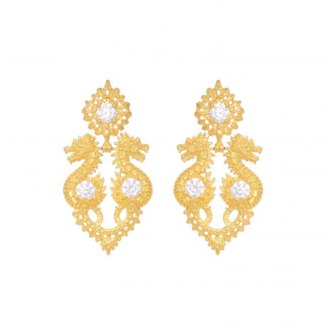 Earrings Queen Dragon Zirconia in Gold Plated Silver