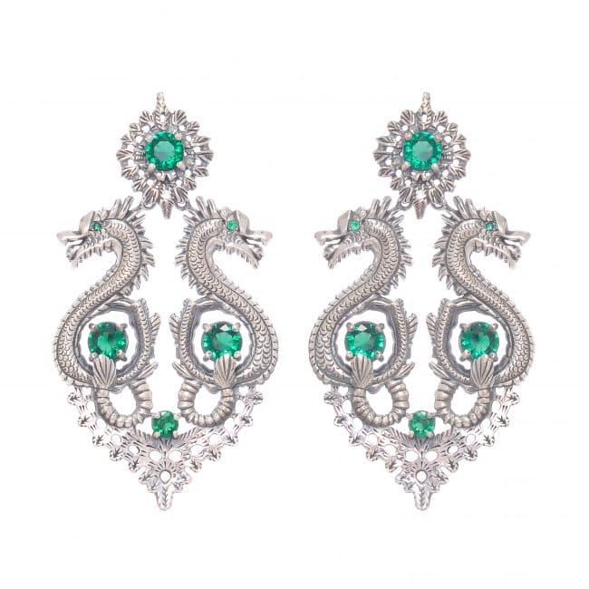 Brincos Rainha Dragão XL Esmeralda em Prata
