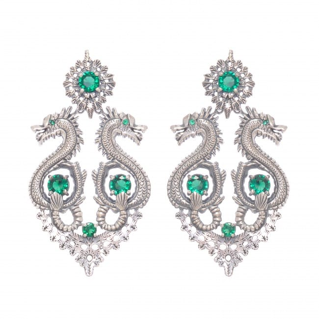 Earrings Queen Dragon XL Emerald in Silver