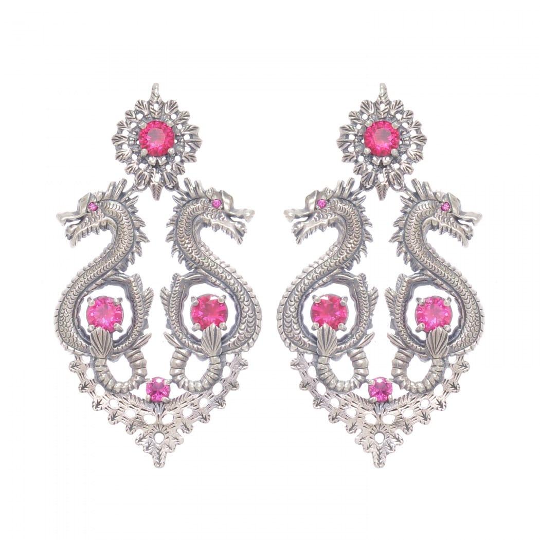 Earrings Queen Dragon XL Ruby in Silver