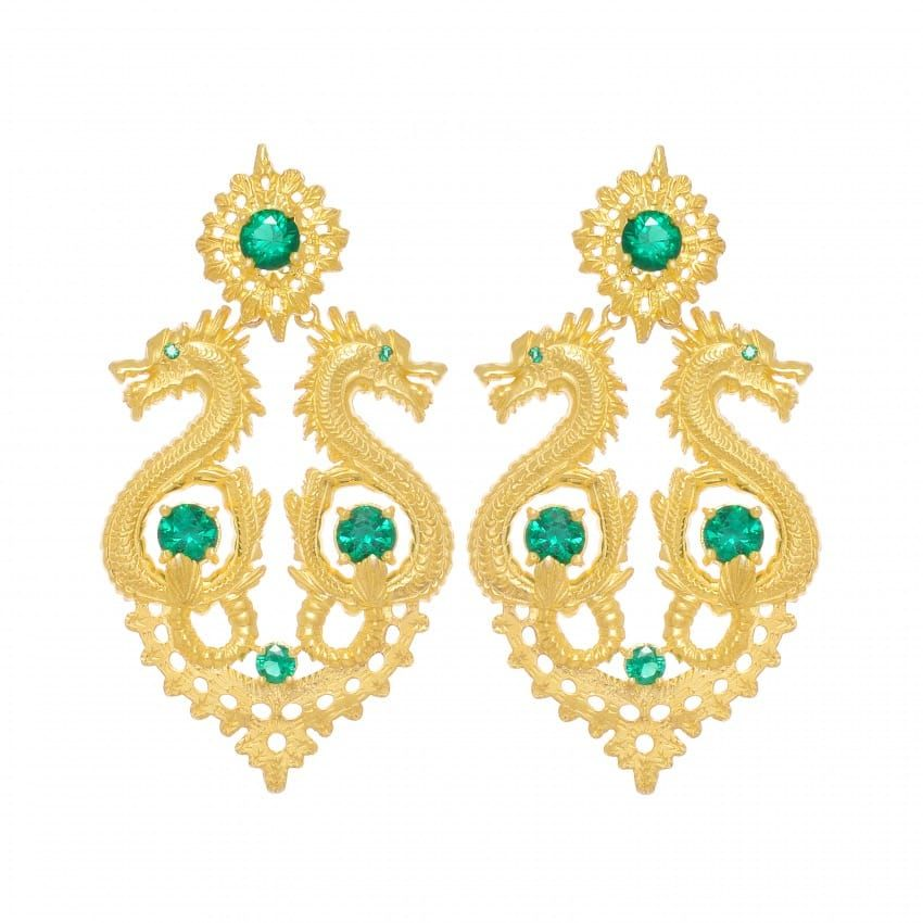 Earrings Queen Dragon XL Emerald in Gold Plated Silver