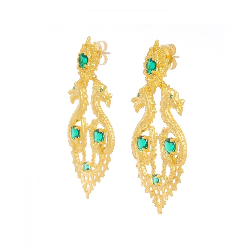 Brincos Rainha Dragão XL Esmeralda em Prata Dourada