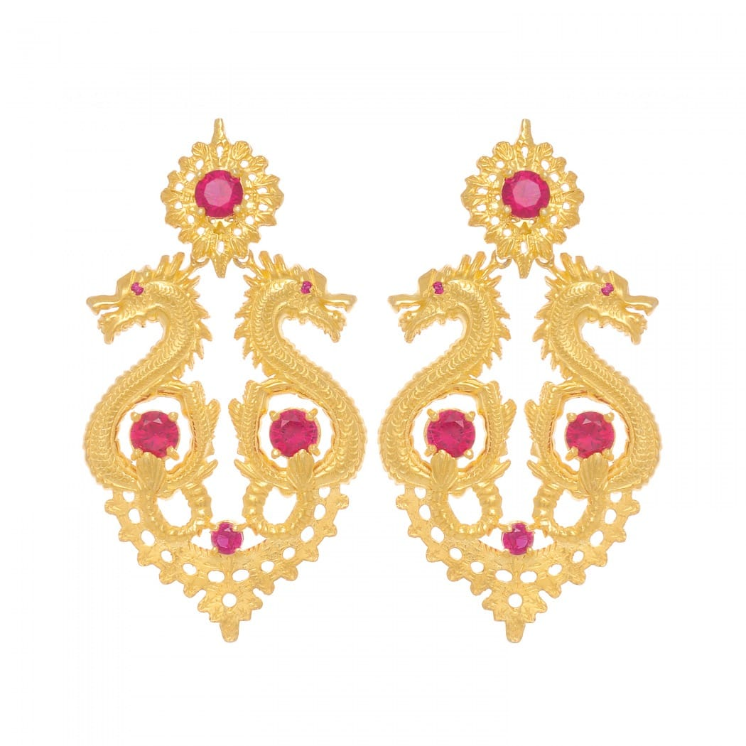 Earrings Queen Dragon XL Ruby in Gold Plated Silver