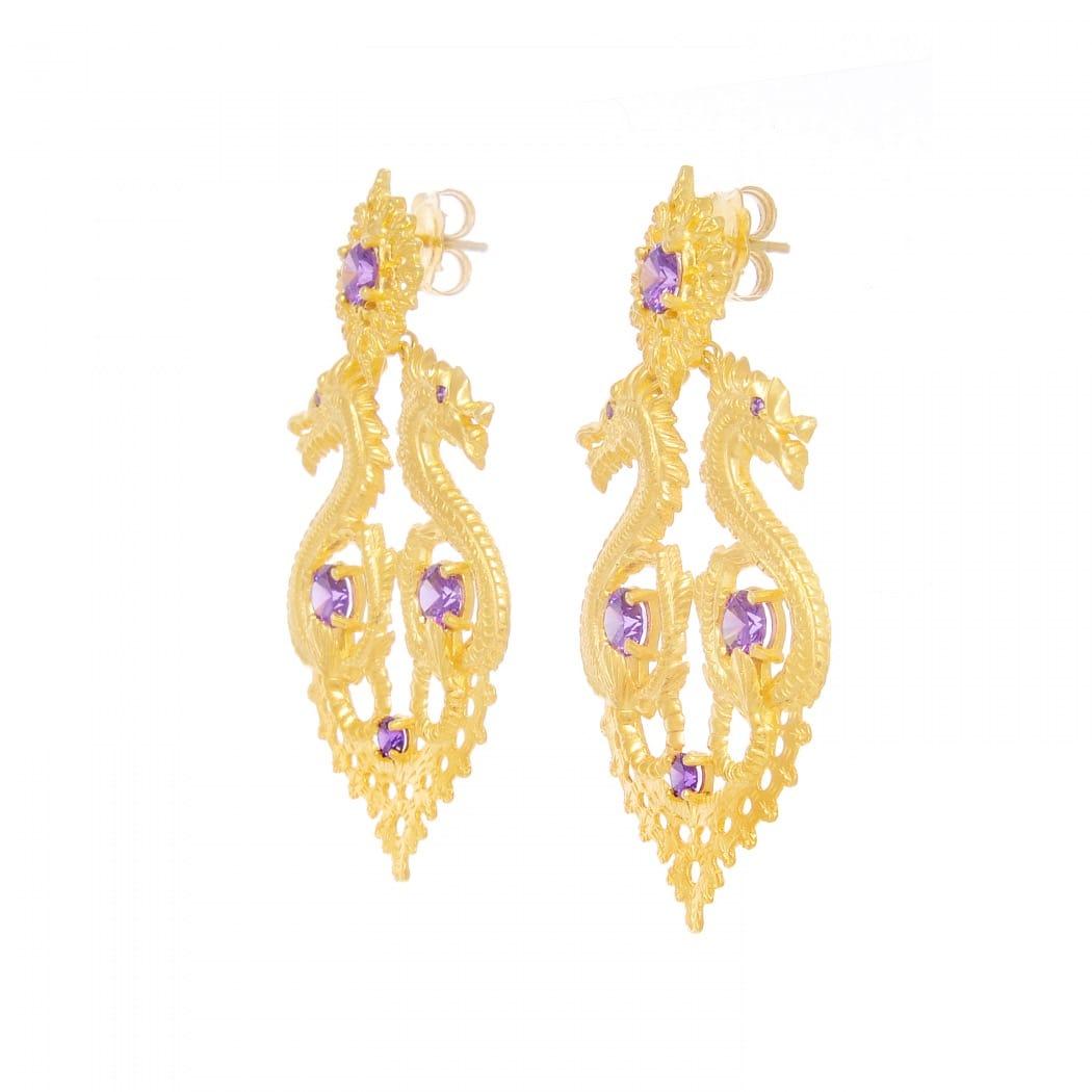 Brincos Rainha Dragão XL Ametista em Prata Dourada