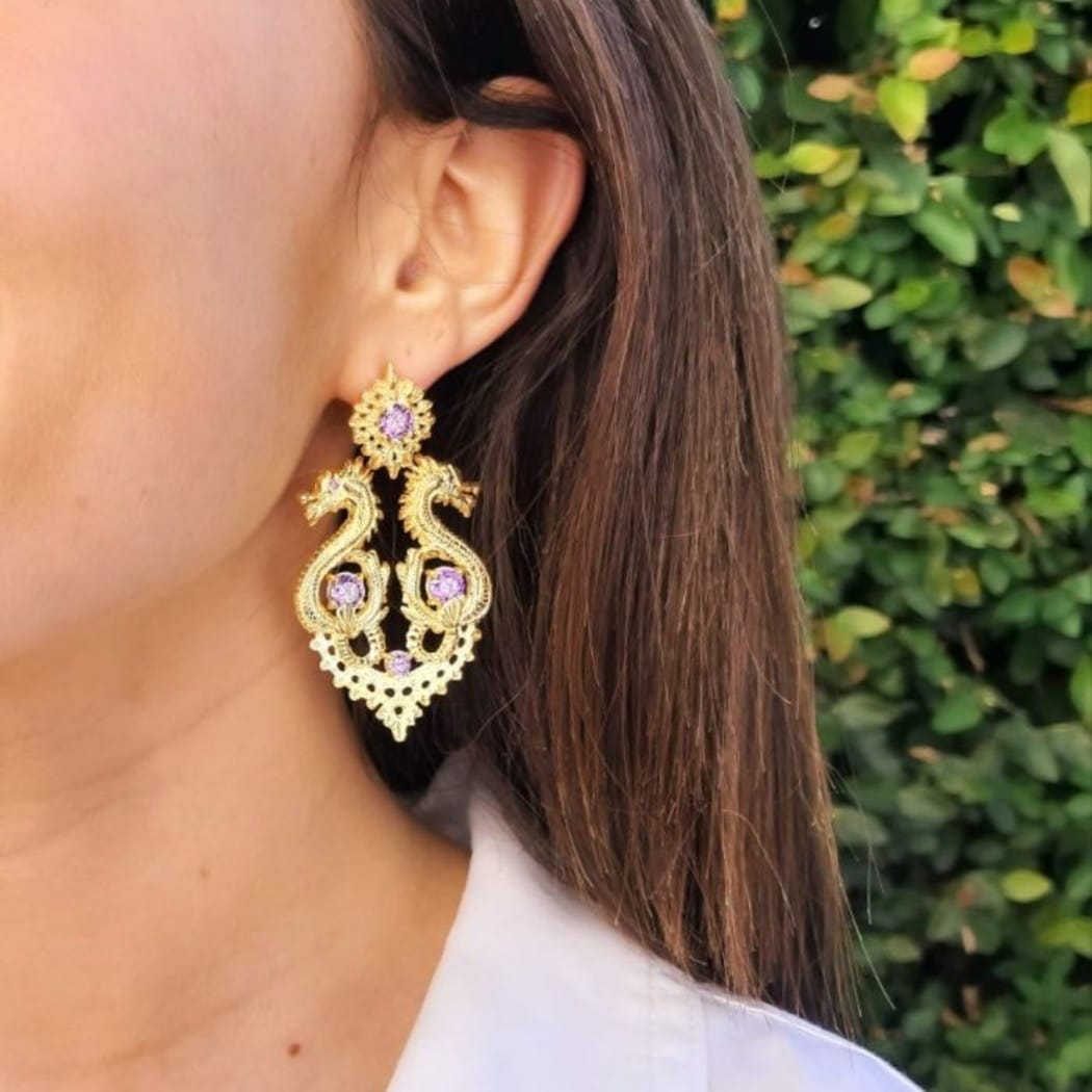 Earrings Queen Dragon XL Amethyst in Gold Plated Silver