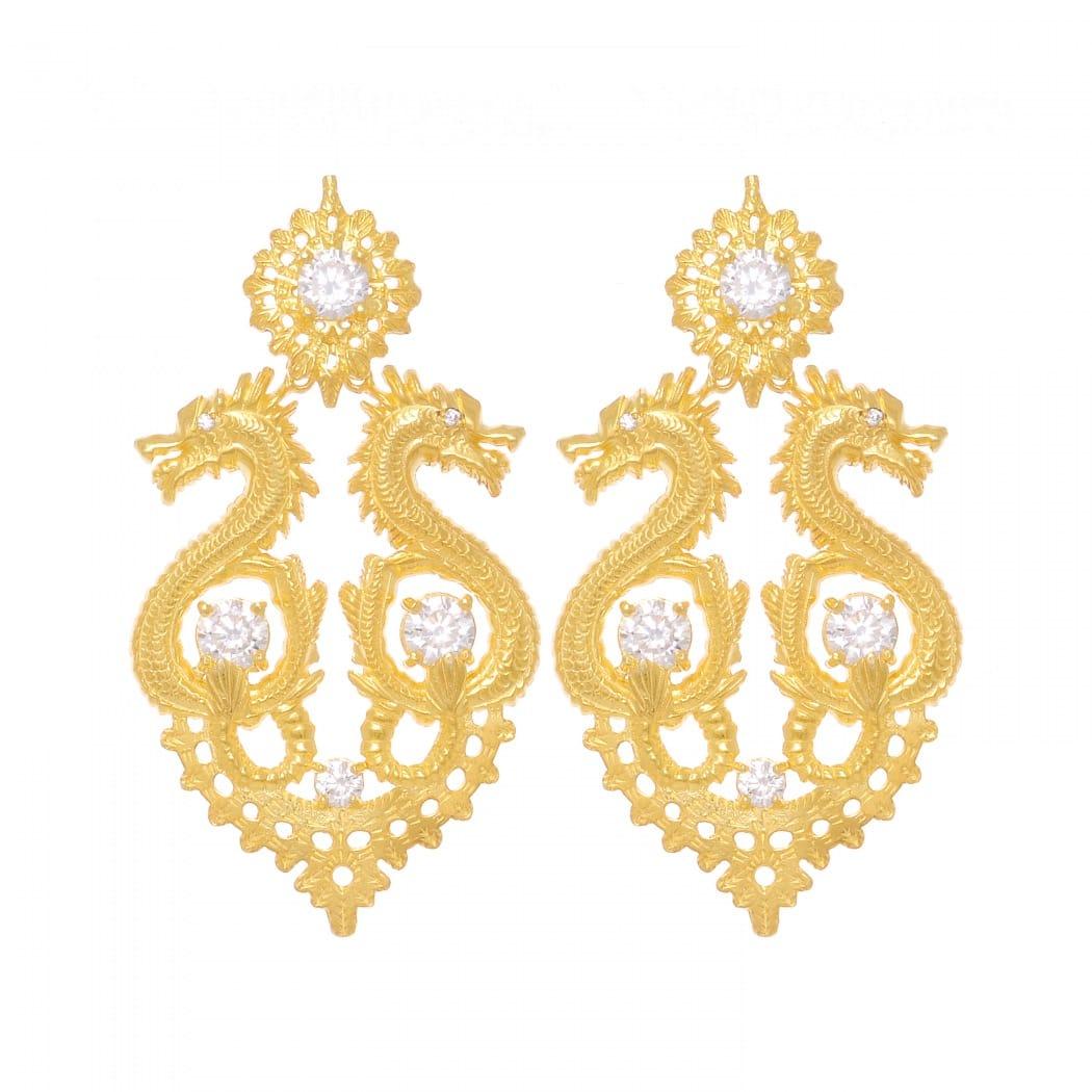 Brincos Rainha Dragão XL Zircónia em Prata Dourada