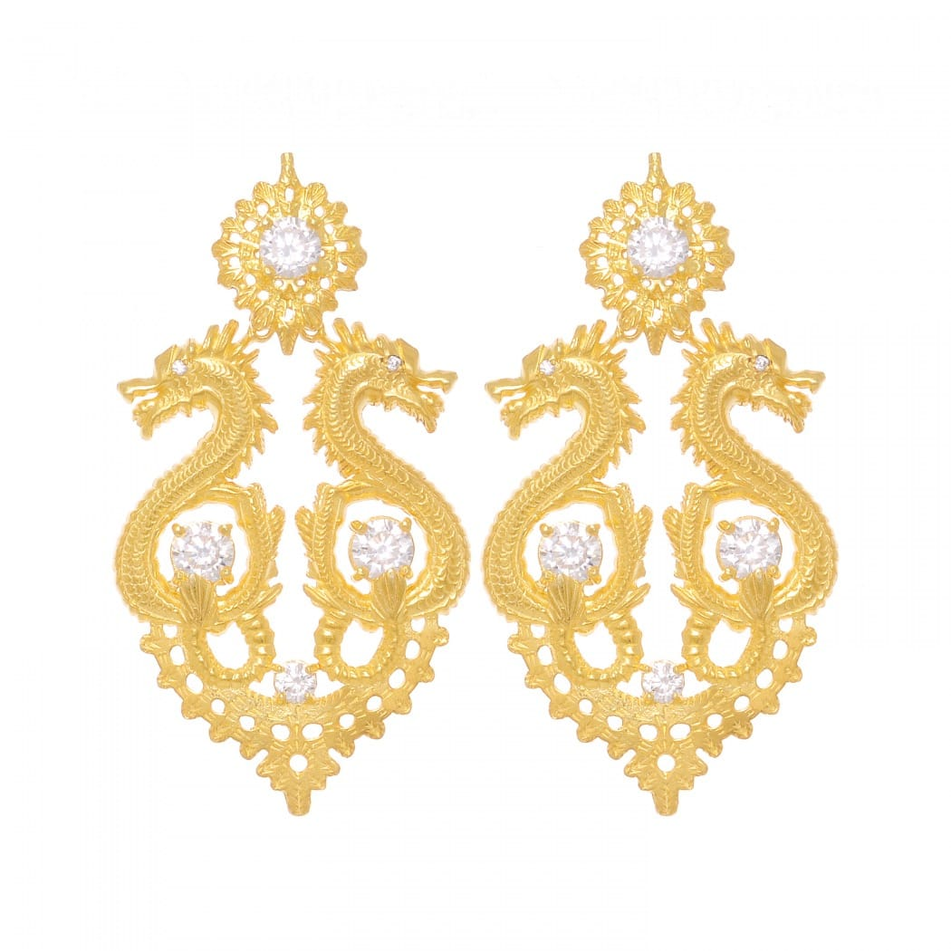 Earrings Queen Dragon XL Zirconia in Gold Plated Silver