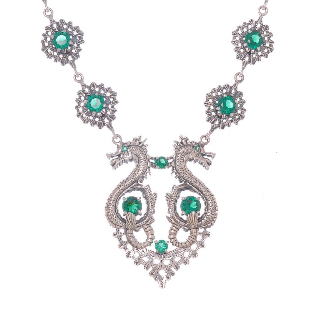 Colar Rainha Dragão Esmeralda em Prata