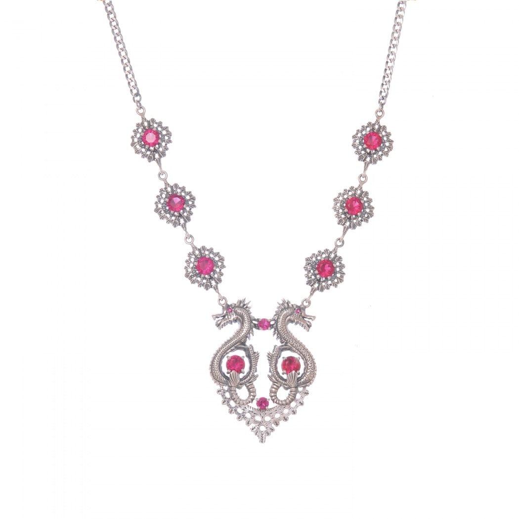 Necklace Queen Dragon Ruby in Silver