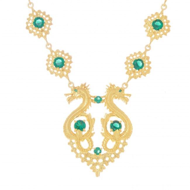 Colar Rainha Dragão Esmeralda em Prata dourada