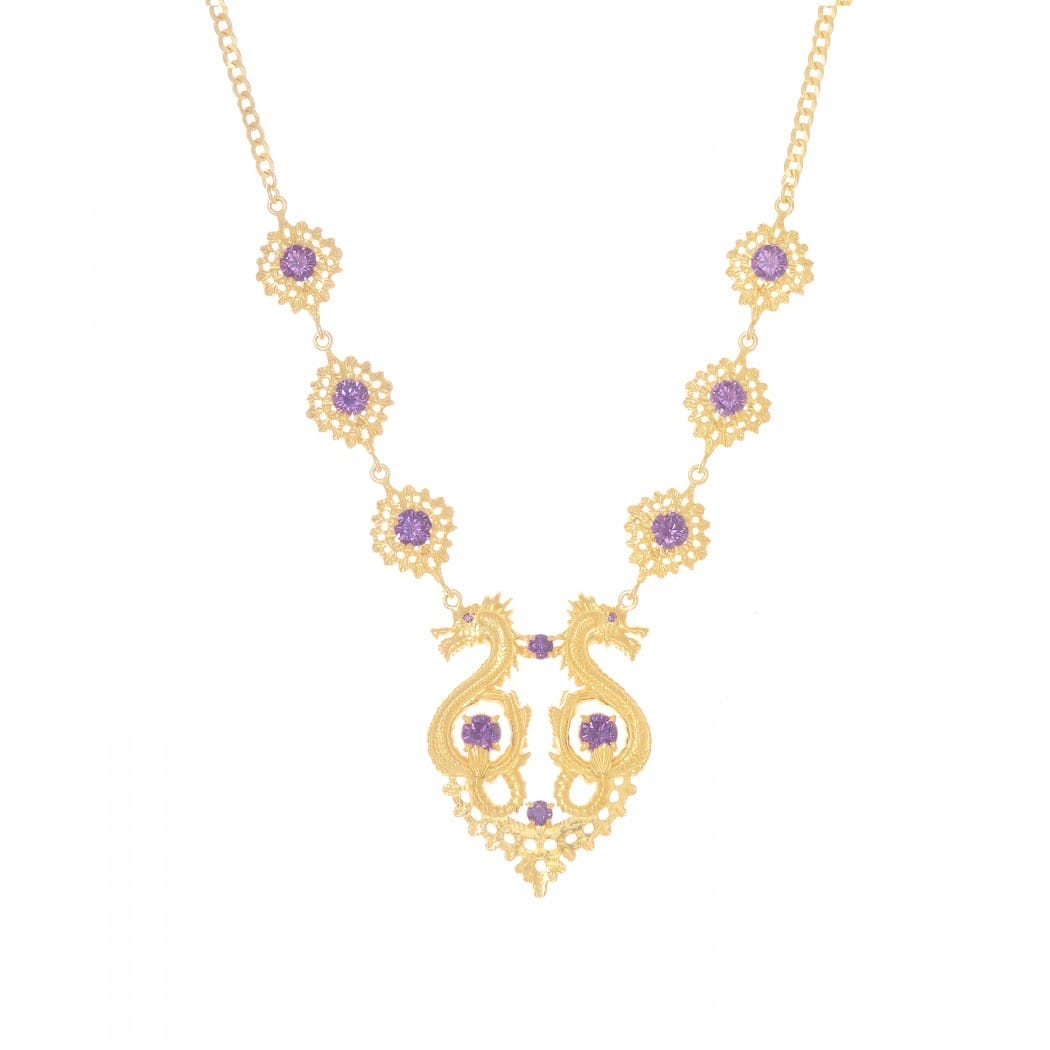 Necklace Queen Dragon Amethyst in Gold Plated Silver
